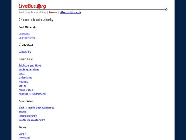 screenshot of LiveBus.org