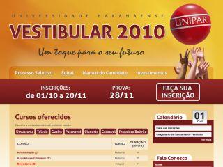 Vestibular 2010 - UNIPAR - Universidade Paranaense