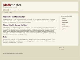 Mathmaster.org - a simple free site to generate maths worksheets
