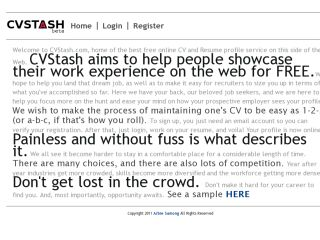 CV Stash free CV/Resume hosting
