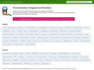 Chemist etc - Find a pharmacy nearby (England and Scotland)